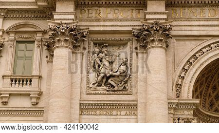 Rome, Trevi Neighborhood. Detail Of Palazzo Poli, Backdrop Of Trevi Fountain. Sculpture Of Marco Agr