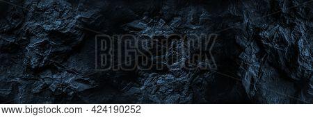 Black Stone Background. Black And White Grunge Background. Old Black Stone Wall. Grunge Banner. Dark