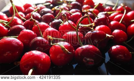 Cherry Background. Juicy Ripe Delicious Cherry Or Sweet Cherry Close-up From The Side. Summer Fruits