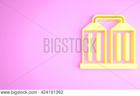 Yellow Granary Icon Isolated On Pink Background. Silo With Grain, Elevator, Granary, Factory. Wareho