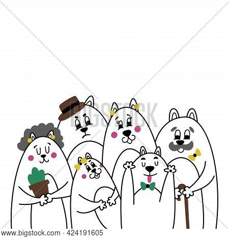 Funny Cartoon Portrait Of A Cat Family. Happy Mom, Dad, Daughter, Son, Grandma And Grandpa At A Phot