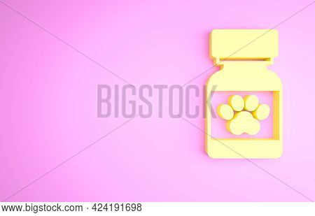 Yellow Medicine Bottle And Pills Icon Isolated On Pink Background. Container With Pills. Prescriptio