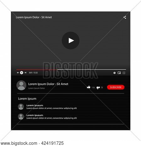 Template Interface Video Player. Realistic Multimedia Player Template Isolated On White Background.