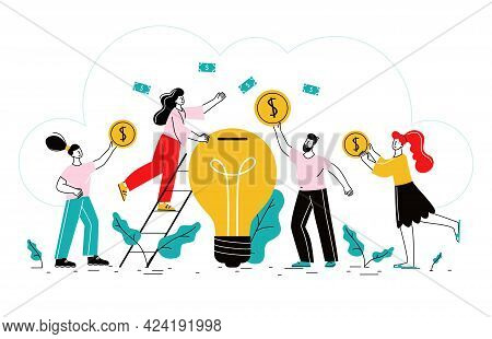 Crowdfunding Flat Background With Business Idea Finance Investors Revenue And Business Growth Symbol