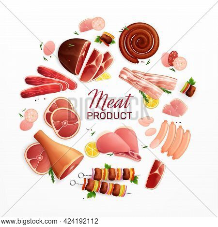 Meat Products Advertising Promotion Flat Circular Composition With Ham Steak Sausages Bacon Meatloaf