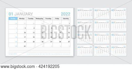Calendar For 2022 Year. Planner Template. Week Starts Sunday. Vector. Monthly Calender Organizer. Ta