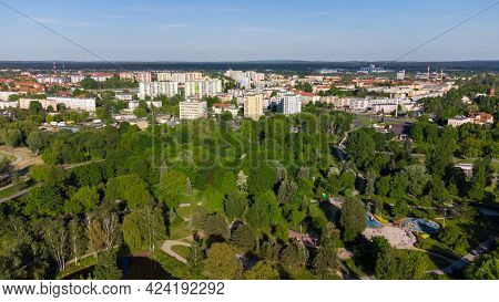 Pila, Poland - May 31, 2021: Aerial View In City Center Of Szczecinek. View At City From Bird Sight.