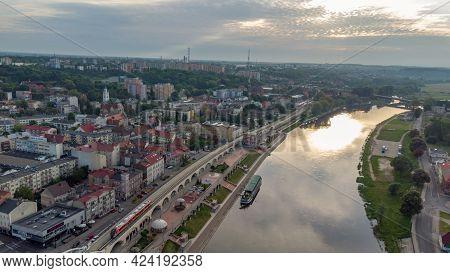 Gorzow Wielkopolski, Poland - June 1, 2021: Sunrise View Over Warta River At Gorzow Wielkopolski Fro