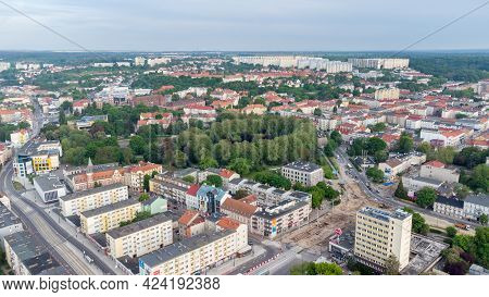 Gorzow Wielkopolski, Poland - June 1, 2021: View Gorzow Wielkopolski City From Drone.