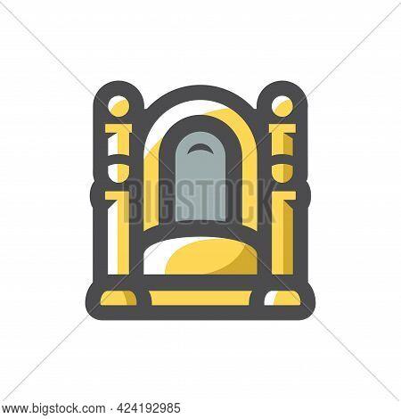 Throne Made Of Gold Vector Icon Cartoon Illustration