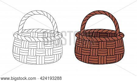 Empty Wicker Basket With Handle In A Simple Flat Graphic Outline Style. Linear And Color Illustratio