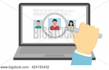 Search For The Best Candidate. The Hand Holds A Magnifying Glass With Which The Candidate Is Selecte