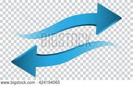 Blue Arrow 3d Wave Direction On Transparent Background Sign Symbol Vector Illustration.