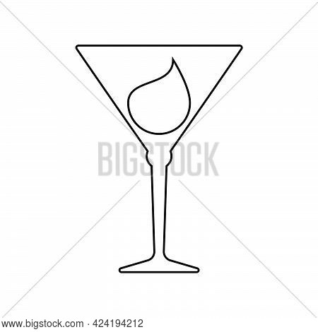 Glass Martini With A Drop Of Drink Inside. Contour Line Art In Flat Style. Restaurant Alcoholic Illu