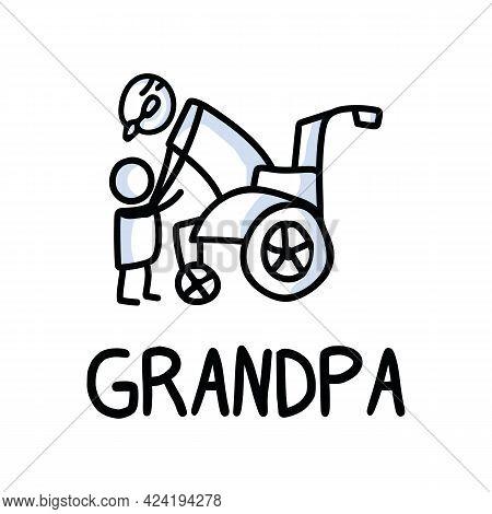 Stick Figures Icon Of Senior Man Hugging Grandchild. Elderly Embrace Together Support Pictogram With