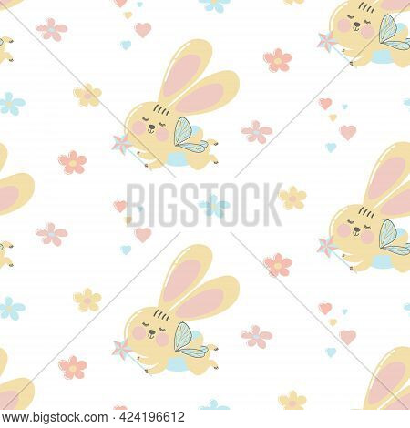 Seamless Pattern Fairy Bunnies In Abstract Style On White Background.cute Bunnies With A Magic Wand
