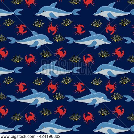 Marine Vector Pattern With Dolphins And Crabs On A Dark Blue Background