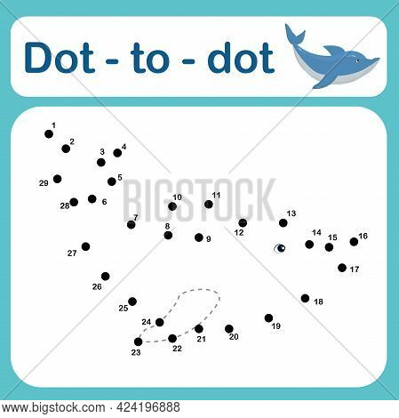 Dot To Dot Game For Kids Vector Illustration. Number Tracing Line Puzzle Game With A Dolphin. Colori