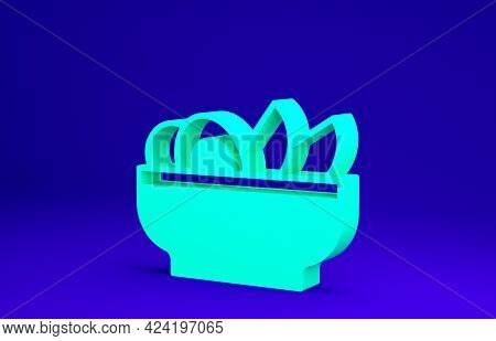 Green Nachos In Plate Icon Isolated On Blue Background. Tortilla Chips Or Nachos Tortillas. Traditio