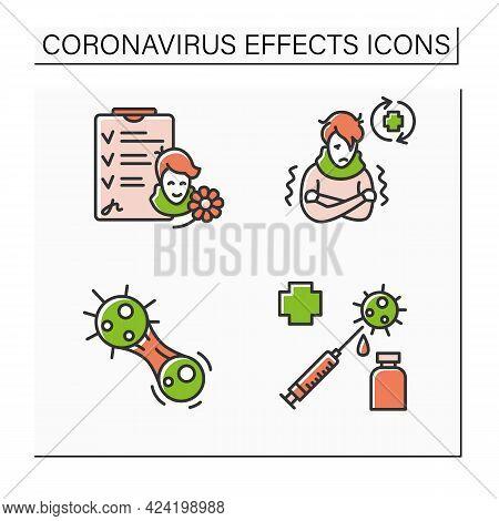 Corona Virus Effects Color Icon Set. Sick Person, Vaccine, Recovered Patient, Covid Mutation. Covid