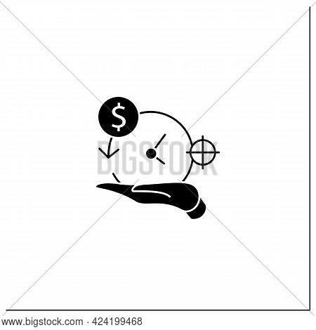 Asset Management Glyph Icon. Accurate Amortization Rates. Expensing Cost Process. Calculation Loan P