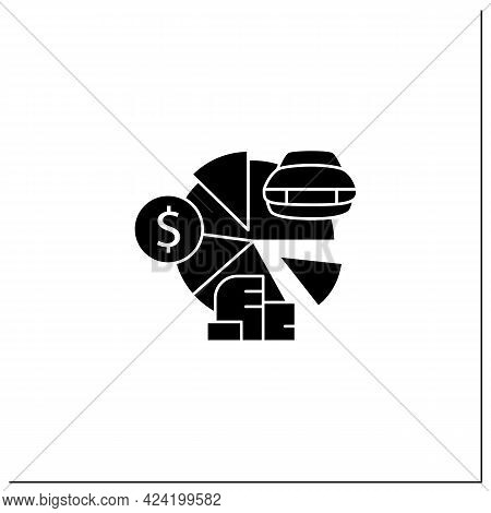Total Asset Count Glyph Icon. All Ownership Aspects.car, Cash, Accounts Receivable, Private Property