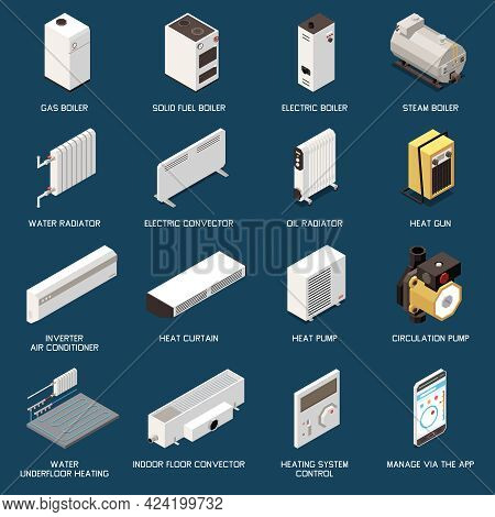 Heating System Equipment Isometric Icons Set With Different Boilers Convectors Radiators Conditioner
