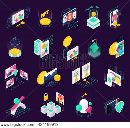 Cryptographic Art Crypto Art Nft Isometric Set Of Isolated Icons With Holographic Signs Computers An