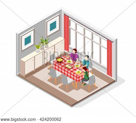 International Day Of Families Isometric Composition With Mother Father And Daughter Having Diner At