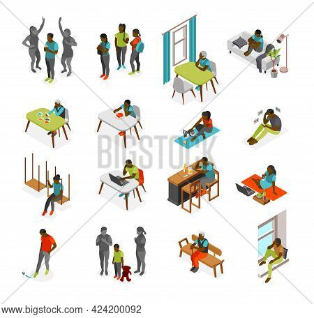 Loneliness Isometric Recolor Set Of Depressed Black People Suffering From Lack Of Communication Isol