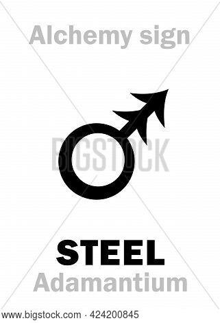 Alchemy Alphabet: Steel (stahl), Also Greek: Adamas (latin: Adamantius, Adamantium), Greek: Chalybs.