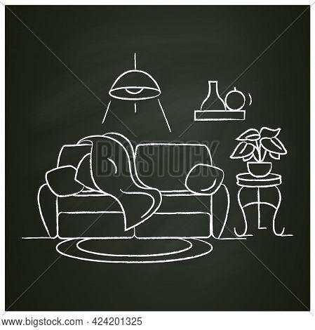 Living Room Interior Chalk Icon.comfortable Living Room. Modern Lounge With Comfortable Sofa. Apartm