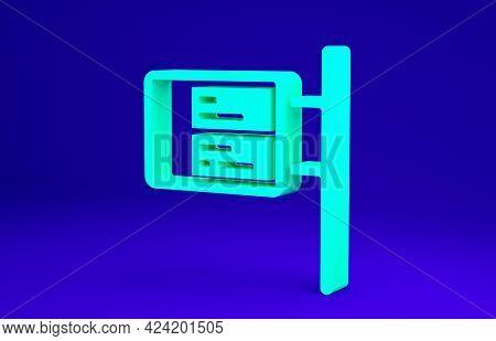 Green Public Transport Board Icon Isolated On Blue Background. Mechanical Scoreboard. Info Of Flight