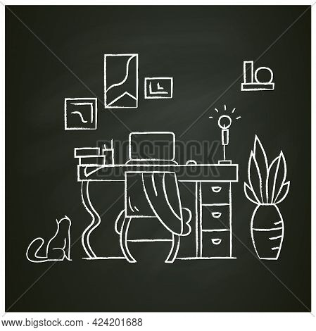 Working Room Chalk Icon.comfortable Workplace.workspace Interior For Working From Home. Isolated Ect