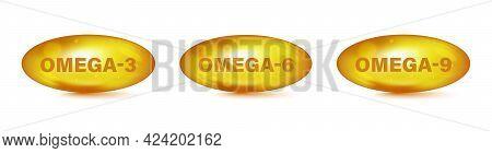 Omega Fatty Acid, Epa, Dha. Vitamin Drop Pill Capsule Omega-3, Omega-6, Omega-9. Polyunsaturated Fat