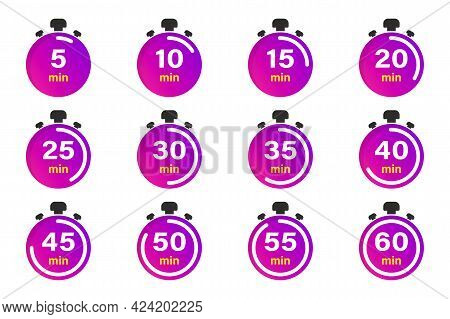 Flat Collection With Stopwatch. Timer Icon Set. Clock Vector Icons. Countdown Minutes. Collection Of