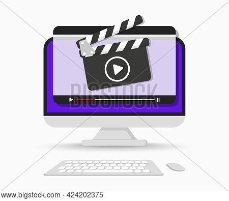 Computer Screen With Video Player Interface. Clapperboard With Online Video Player Windows. Live Str