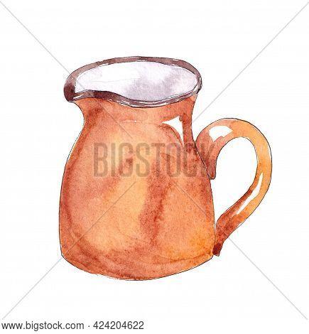 Hand Drawn Watercolor Kitchen Utensils. Jug, Creamer
