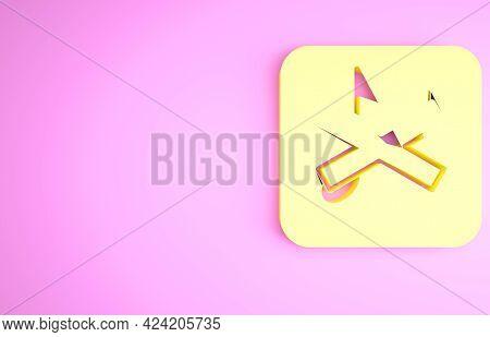 Yellow Speaker Mute Icon Isolated On Pink Background. No Sound Icon. Volume Off Symbol. Minimalism C