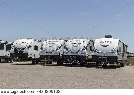 Goshen - Circa June 2021: Keystone Rv Recreational Vehicle Fifth Wheel Trailers. Keystone Rv Manufac