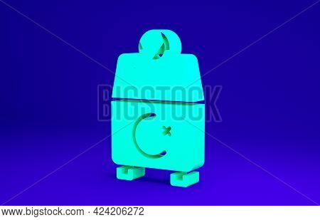 Green Donate Or Pay Your Zakat As Muslim Obligatory Icon Isolated On Blue Background. Muslim Charity