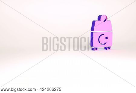 Purple Donate Or Pay Your Zakat As Muslim Obligatory Icon Isolated On White Background. Muslim Chari