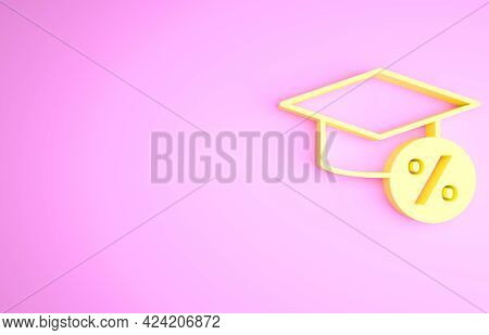 Yellow Graduation Cap And Coin Icon Isolated On Pink Background. Education And Money. Concept Of Sch