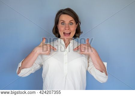 Excited Amazed Woman Pointing Herself With Amazed Shocked Expression, Feeling Surprised