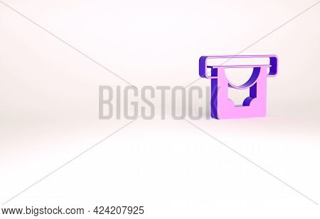 Purple Atm - Automated Teller Machine And Money Icon Isolated On White Background. Minimalism Concep