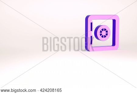 Purple Safe Icon Isolated On White Background. The Door Safe A Bank Vault With A Combination Lock. R