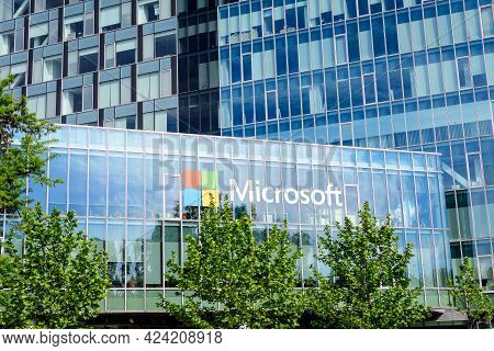 Bucharest, Romania - 15 May 2021: Microsoft Headquarter And Offices In City Gate Towers In The North