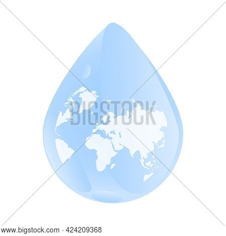 World Map Inside Water Drop Isolated On White Background. Water Or Rain Drop Droplet With A World Ea