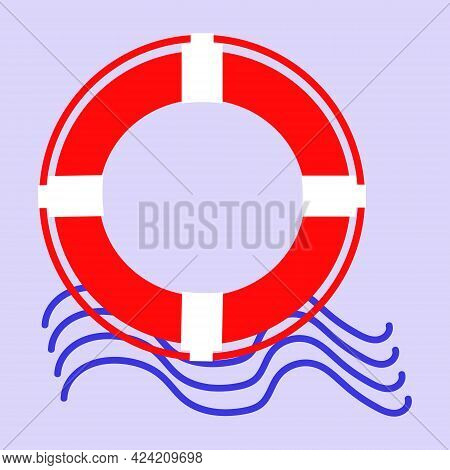 Lifebuoy With Sea Waves.white Lifebuoy With Rope.isolated Veterinary Illustration.sea River Save Peo