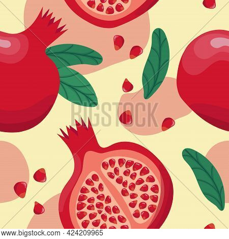 Pomegranate Seamless Pattern. Colorfull Red Pomegranate Whith Seeds And Leaves On The Yellow Backgro